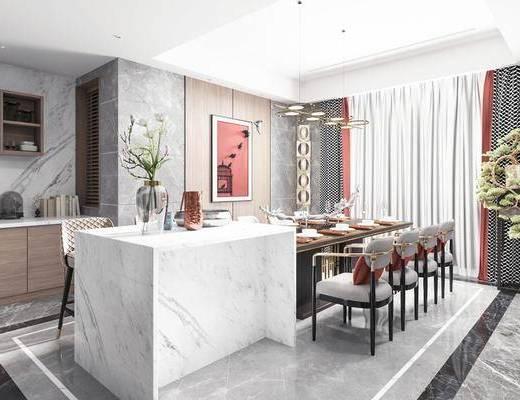 餐桌, 装饰画, 吧台, 单椅, 吊灯