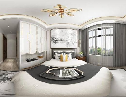 卧室, 双人床, 床头柜, 吊灯, 衣柜, 装饰柜, 新中式