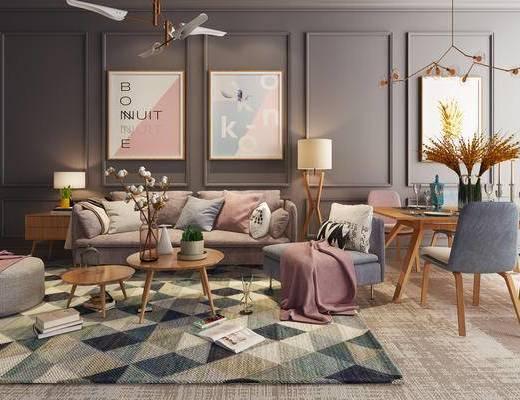 北欧, 北欧沙发, 茶几, 地毯, 挂画, 餐桌