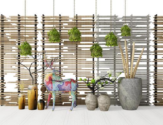 盆栽, 植物, 吊篮, 墙, 鹿