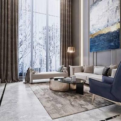 美式现代, 美式客厅, 别墅客厅, 现代客厅, 客厅, 下得乐3888套模型合辑