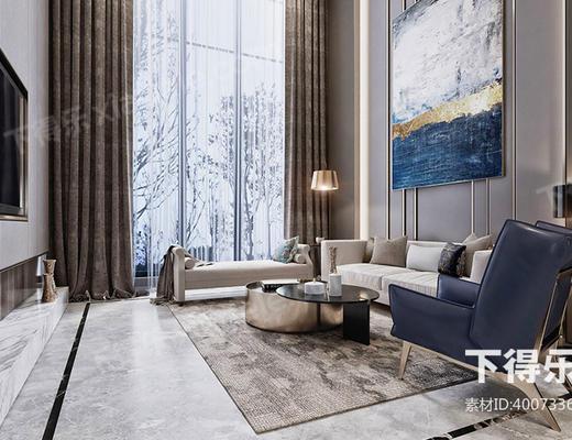 美式现代, 美式客厅, 别墅客厅, 现代客厅, 客厅