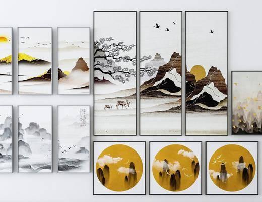 风景画, 组合画, 装饰画, 挂画, 中式