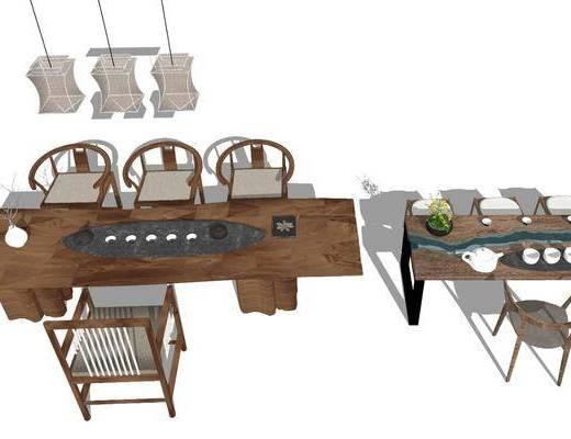 茶桌, 茶具组合, 桌椅组合