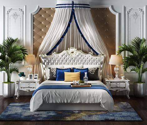 欧式风格双人床, 欧式床, 欧式床头柜, 台灯, 植物, 床帘