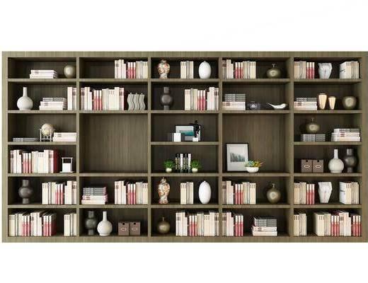 书架, 书籍, 书本, 摆件, 现代柜架组合, 现代, 柜架组合
