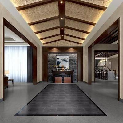 玄关, 走廊, 过道, 中式, 新中式, 边柜, 玄关柜, 装饰画