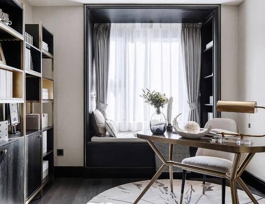 书桌, 书柜, 窗帘, 摆件组合, 台灯