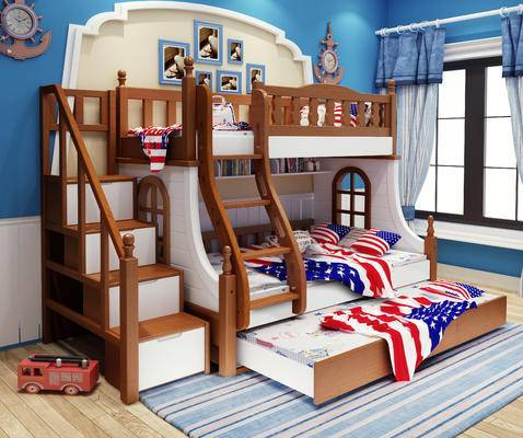 地中海, 儿童床, 实木