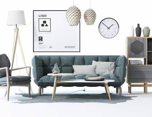 北欧沙发茶几组合, 北欧, 沙发, 椅子, 装饰画, 装饰柜, 边柜, 摆件, 时钟