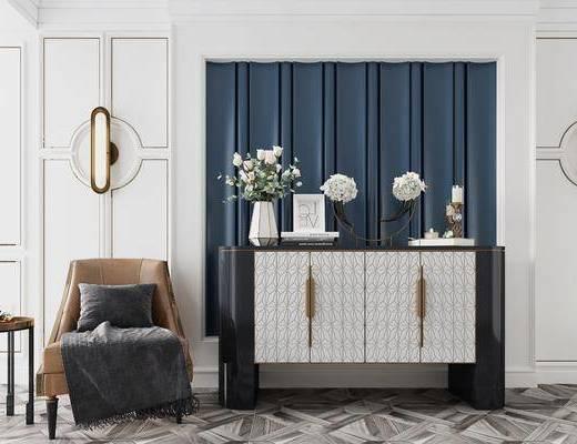 边柜, 端景台, 摆件组合, 单椅, 边几, 壁灯