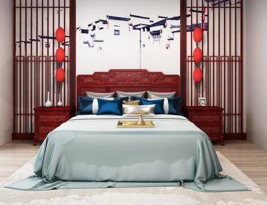 红木床, 双人床, 床头柜, 中式