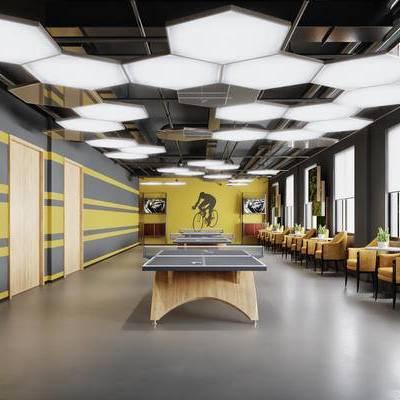 现代, 乒乓球馆, 桌子, 单椅, 健身房, 圆几, 植物, 盆栽