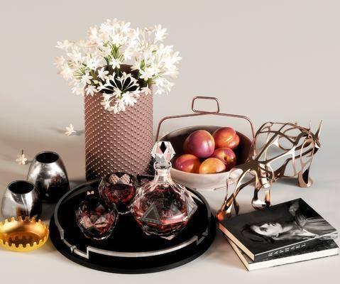 现代摆件, 摆件组合, 食物, 编藤花瓶