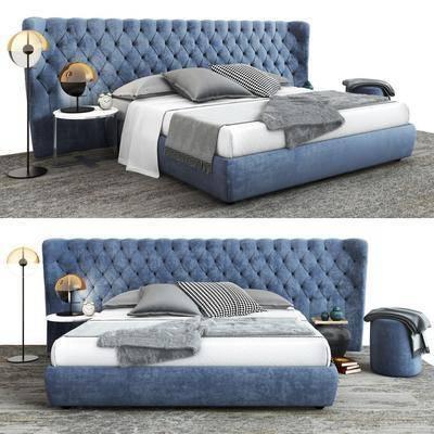 床具组合, 双人床, 床头柜, 落地灯, 台灯, 脚踏沙发, 现代