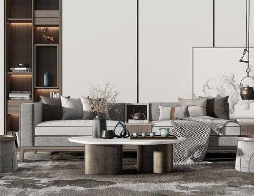 现代沙发组合, 多人沙发, 茶几, 沙发凳, 吊灯