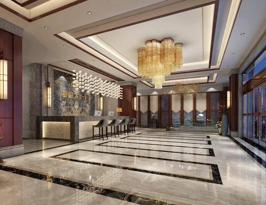 新中式酒店大堂, 新中式大堂, 新中式大厅, 吊灯, 前台