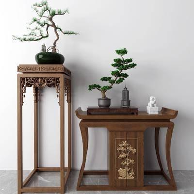盆栽, 玄关柜, 摆件组合