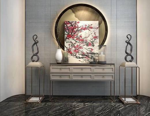 挂画, 端景台, 摆件组合, 装饰品