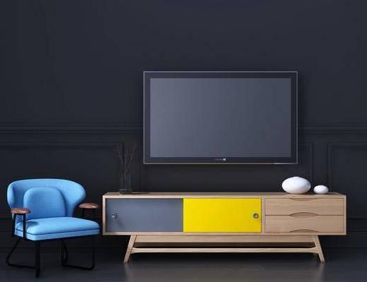边柜, 电视柜, 单人椅, 装饰柜, 北欧