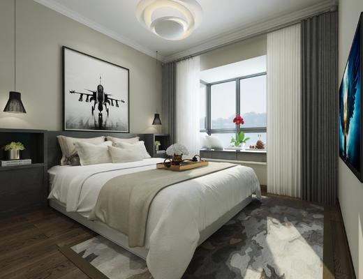 现代, 卧室, 双人床, 陈设品, 灯具