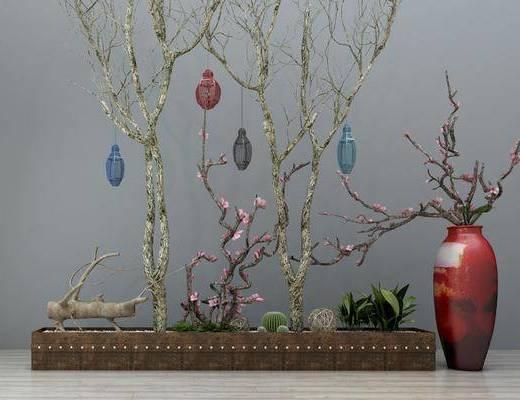 吊灯, 干树枝, 盆景, 新中式