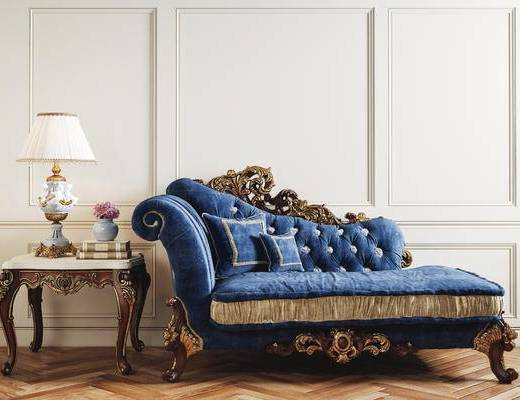 贵妃椅, 躺椅, 边几, 台灯