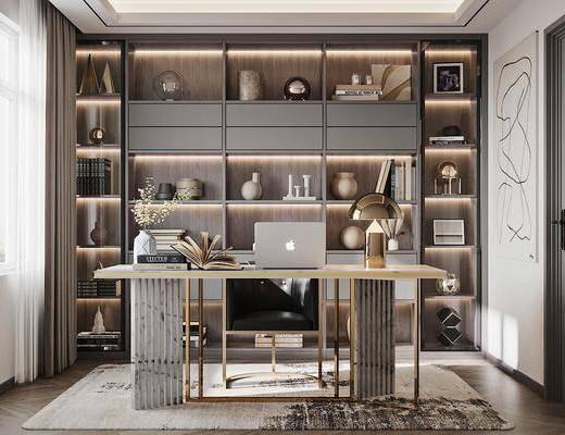 书桌, 书柜, 摆件组合, 书籍