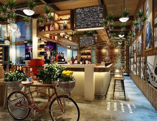 酒吧, 餐桌, 餐椅, 单人椅, 自行车, 盆栽, 绿植植物, ?#21830;?#21543;椅, 吊灯, 装饰柜, 酒瓶, 楼梯, 工业风