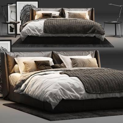 皮革床, 双人床, 床头柜, 床头灯, 地毯, 装饰画, 床具组合, 现代