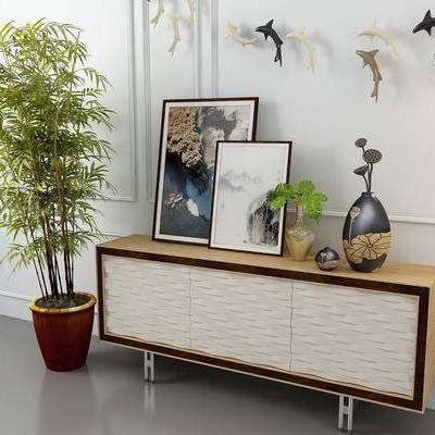 边柜, 装饰柜, 摆件, 植物, 盆栽, 装饰品, 墙饰, 新中式边柜, 新中式装饰柜, 新中式