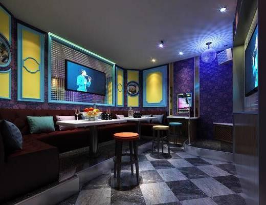 KTV, 包间, 练歌房, 现代, 多人沙发, 吧椅, 吧凳