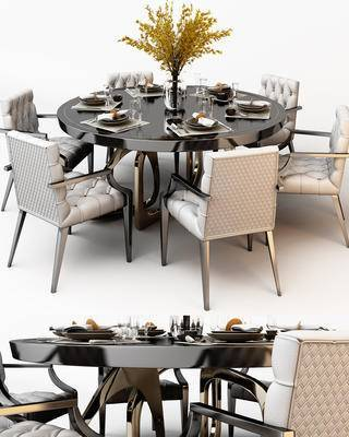 现代, 餐桌椅, 花瓶, 餐具