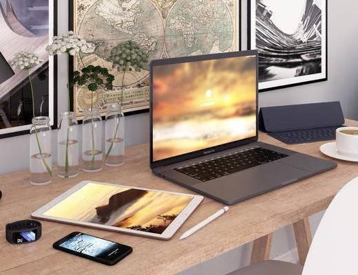 办公桌, 桌椅组合, 手提, 摆件组合