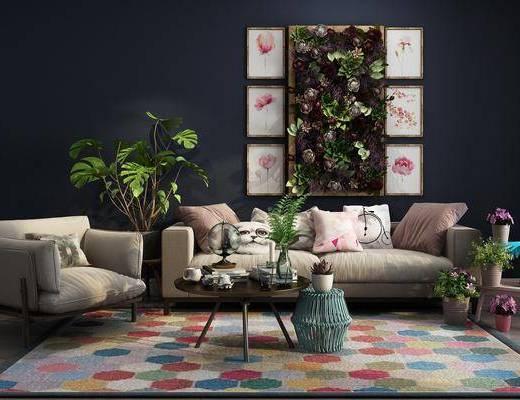 沙发组合, 多人沙发, 茶几, 单人沙发, 盆栽, 绿植植物, 花卉, 植物墙, 装饰画, 植物画, 组合画, 摆件, 装饰品, 陈设品, 现代