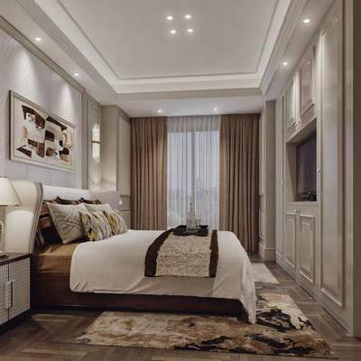 卧室, 后现代, 现代, 床头柜, 双人床, 台灯, 壁灯