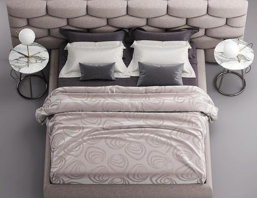床, 圆几, 台灯, 陈设品, 枕头