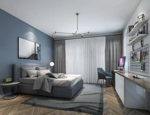 卧室, 北欧卧室, 简约, 床具组合, 双人床, 圆几, 台灯, 吊灯, 置物架, 挂画, 摆件, 墙饰, 书桌, 单椅, 椅子