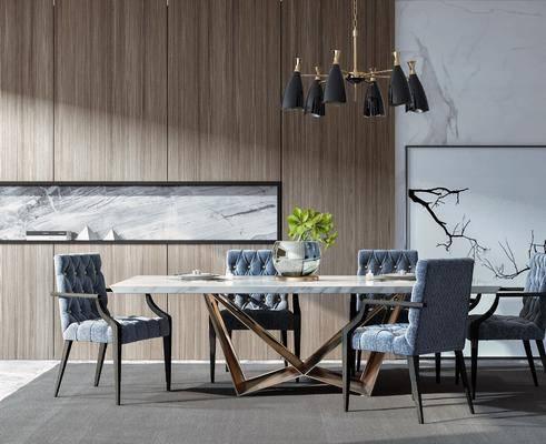餐桌椅组合, 餐桌, 餐椅, 单人椅, 办公椅, 摆件, 吊灯, 装饰画, 挂画, 现代