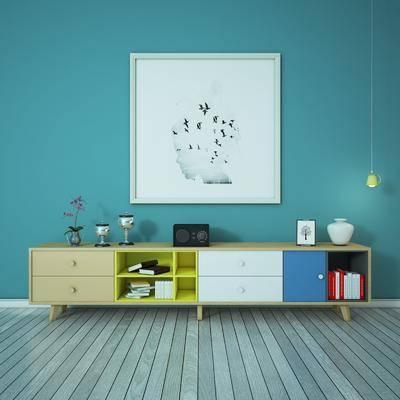电视柜, 装饰画, 挂画, 现代, 北欧, 陈设品, 摆件