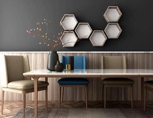餐桌, 餐椅, 单人椅, 墙饰, 花瓶, 花卉, 北欧