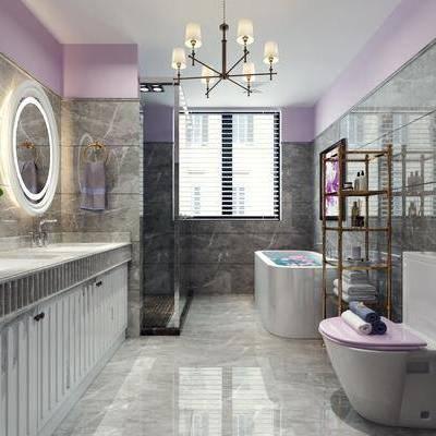 卫生间, 卫浴, 坐厕, 洗手台, 镜, 吊灯, 马桶, 浴缸, 植物, 盆栽, 简欧