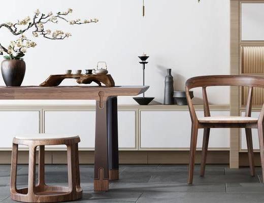 桌椅组合, 摆件组合, 单椅
