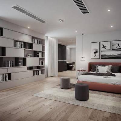 客厅, 卧室, 啥UN个人差UN个, 装饰柜, 摆件, 凳子, 装饰画, 多人沙发, 茶几, 电视柜, 单人椅, 壁灯, 现代