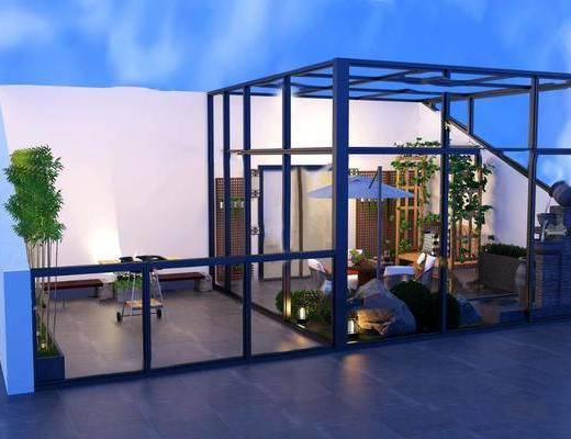 阳台露台, 桌椅组合, 植物花草