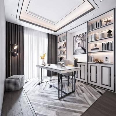 现代, 书房, 桌椅组合