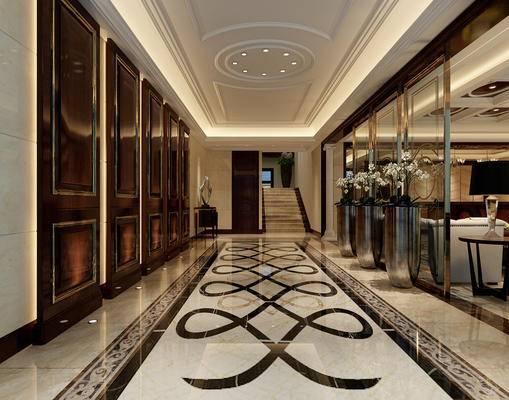 走廊, 过道, 欧式, 现代