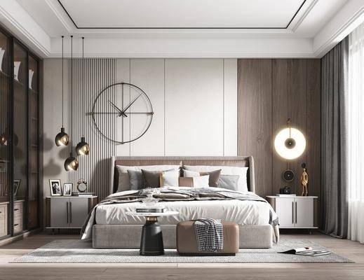 双人床, 床头柜, 墙饰, 吊灯, 衣柜
