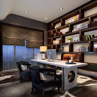书房, 书桌, 单人椅, 办公椅, 装饰柜, 书柜, 书籍, 摆件, 台灯, 装饰品, 陈设品, 新中式