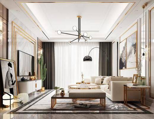 现代客厅, 现代轻奢, 客厅, 吊灯, 电视柜, 茶几, 挂画, 落地灯, 壁灯, 现代壁灯, 现代落地灯, 沙发, 沙发组合, 现代沙发